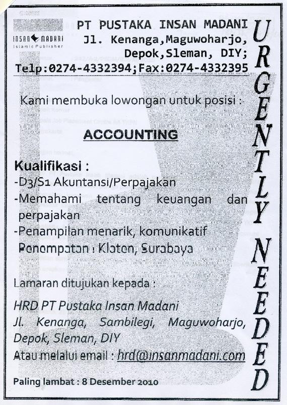 Contoh Lowongan Kerja Dalam Bahasa Inggris Untuk Akuntansi